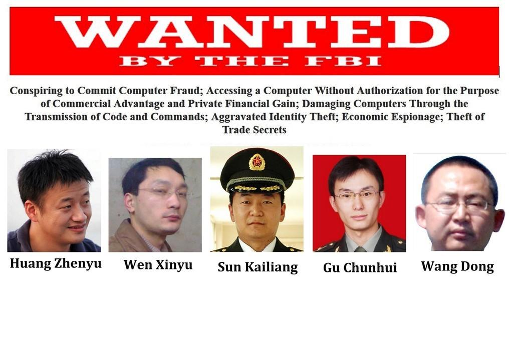 米政府、サイバー攻撃関与の中国将校5人を起訴