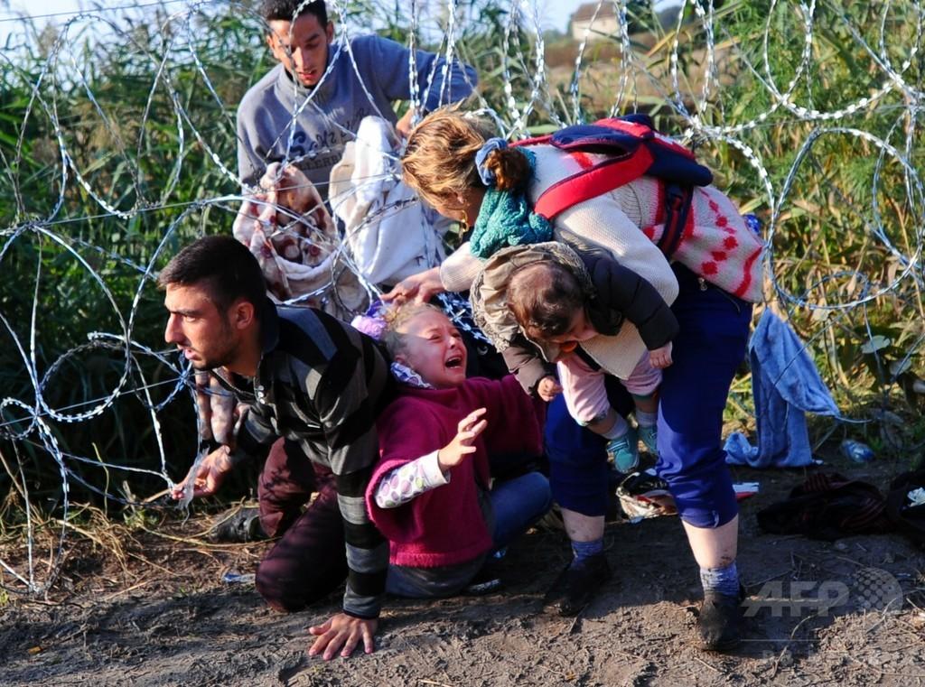 有刺鉄線くぐってハンガリー入りする移民たち