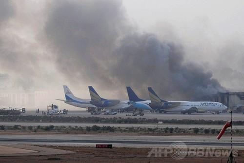 パキスタン空港で再び銃撃戦、「...