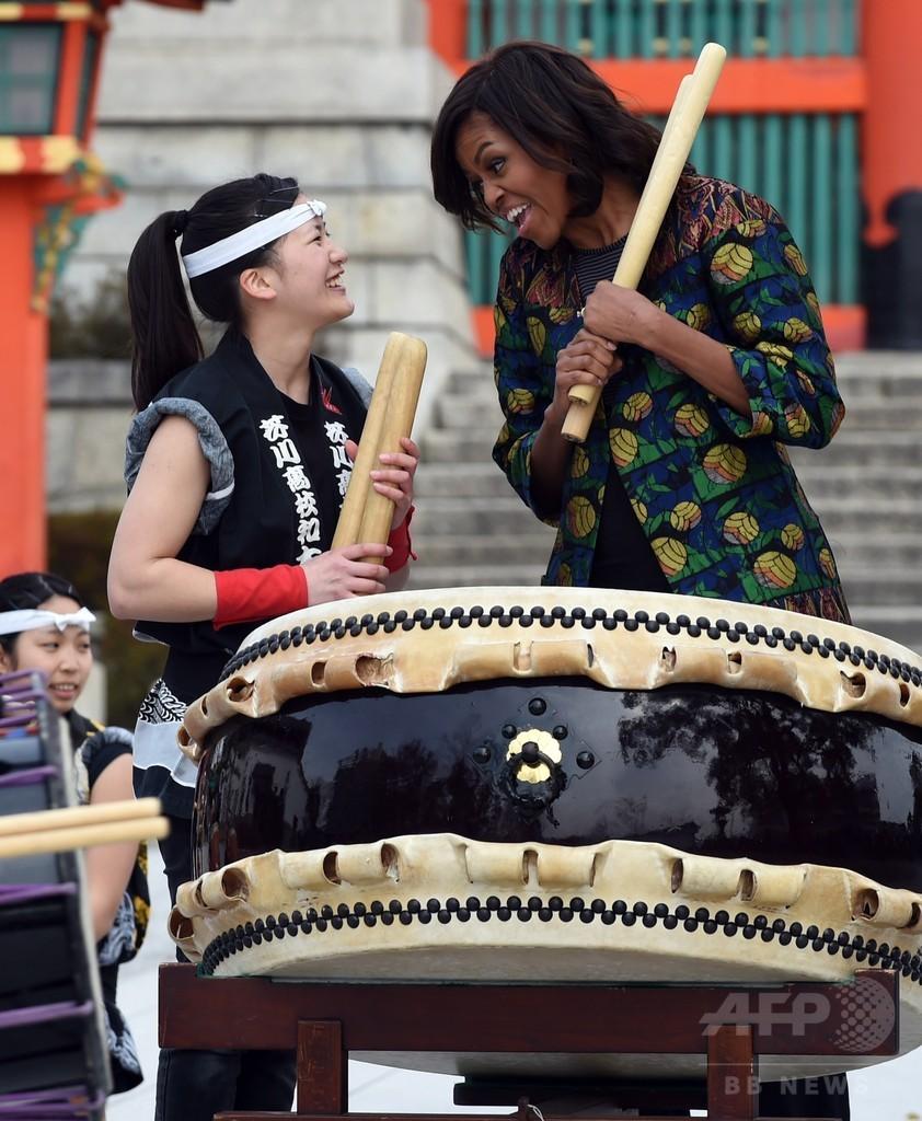 ミシェル夫人、高校生と和太鼓共演 京都・伏見稲荷
