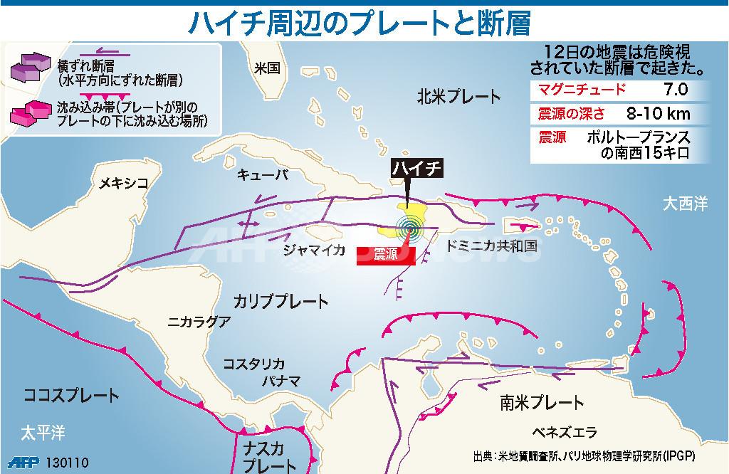 【図解】ハイチ周辺のプレートと断層