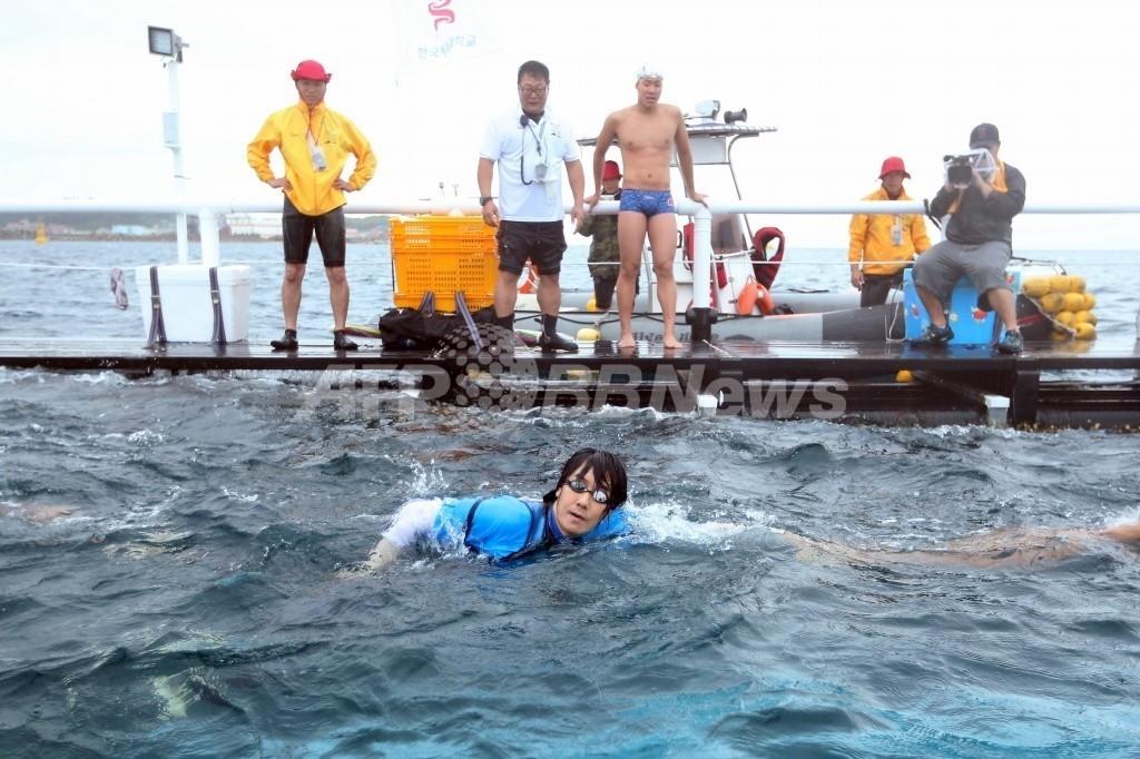 韓国遠泳リレー隊、竹島へ向け出発 15日上陸予定