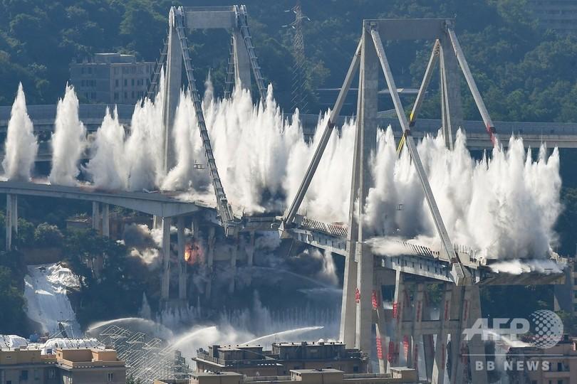 崩落の高架橋、残り部分を爆破解体 伊ジェノバ 写真17枚 国際ニュース ...
