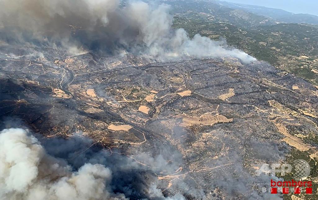 欧州熱波、スペインで森林火災 強風で急速に延焼