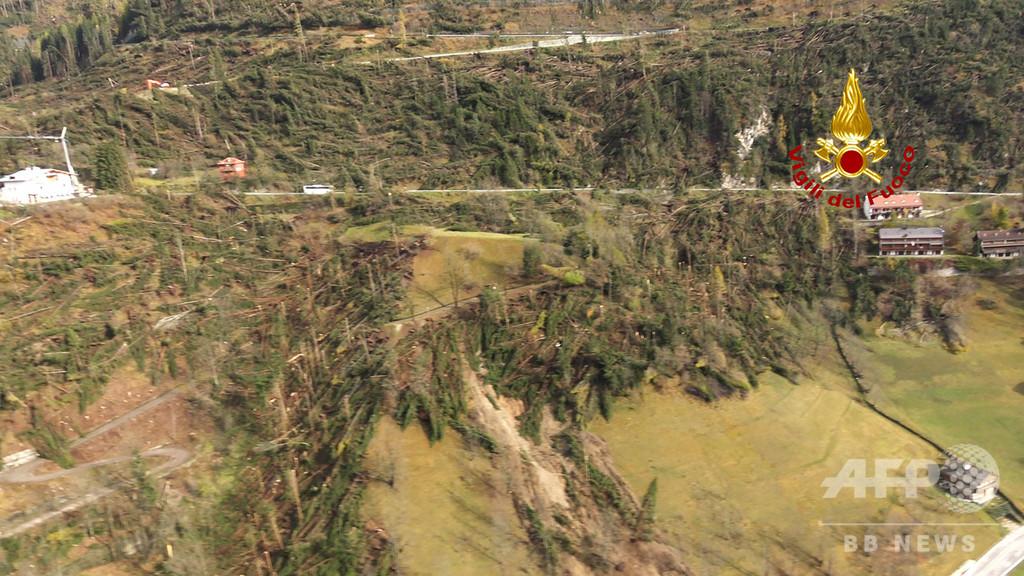 イタリアで続く暴風雨、死者20人に 山地でも大規模な倒木被害