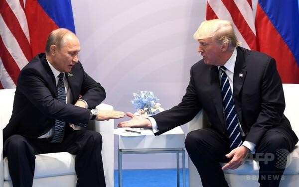 トランプ氏、選挙介入問題でプーチン氏を「追及」 初の会談