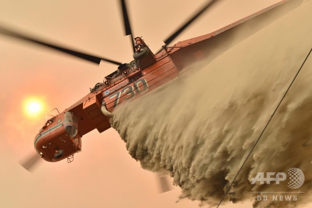 【今日の1枚】空を覆い尽くす煙と消火剤 豪の森林火災