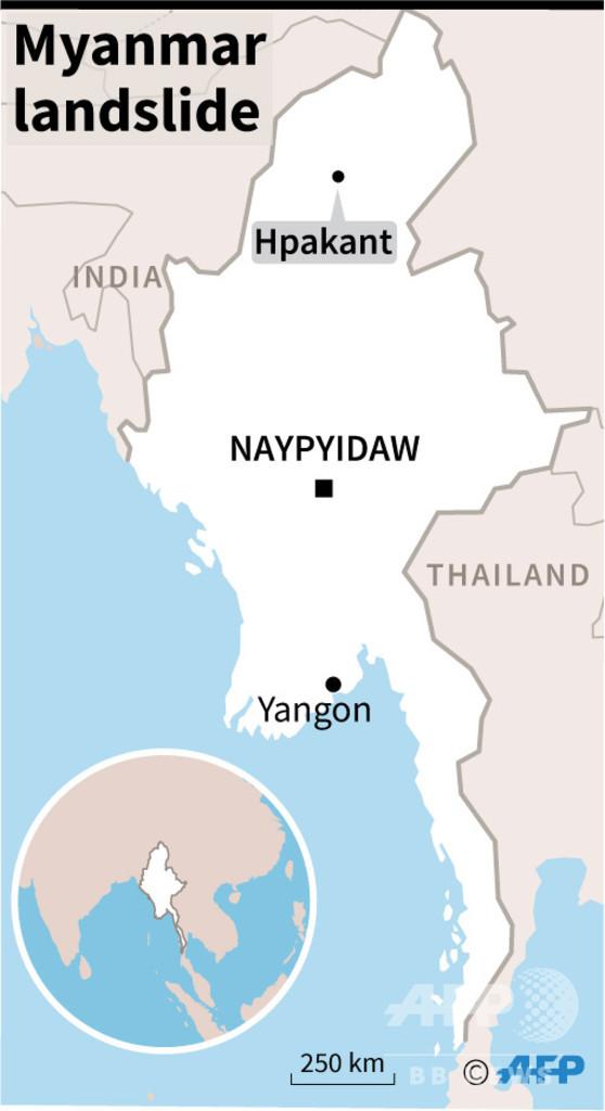 ミャンマーのヒスイ鉱山で地滑り、死者50人以上の恐れ