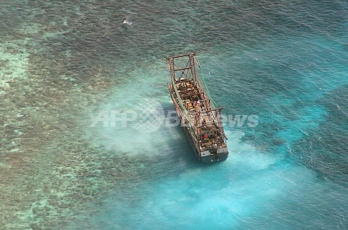 世界遺産のサンゴ礁、中国船座礁で4000平方メートル損壊