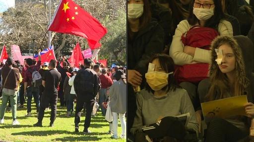 動画:豪シドニーで親中派がデモ、香港民主派の支持者に対抗