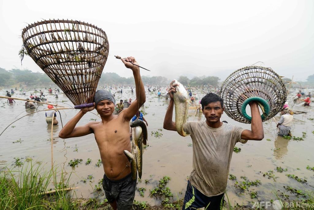 笑みこぼれる 収穫祭で魚捕り インド