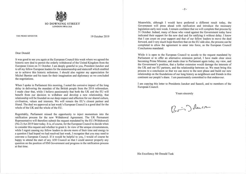 離脱延期要請した英政府、予定通りの10月末ブレグジットを改めて強調