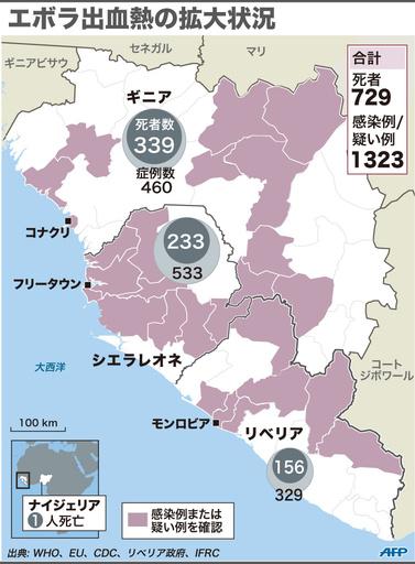 【図解】エボラ出血熱の拡大状況