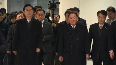 動画:北朝鮮代表団が韓国入り、五輪閉会式出席へ