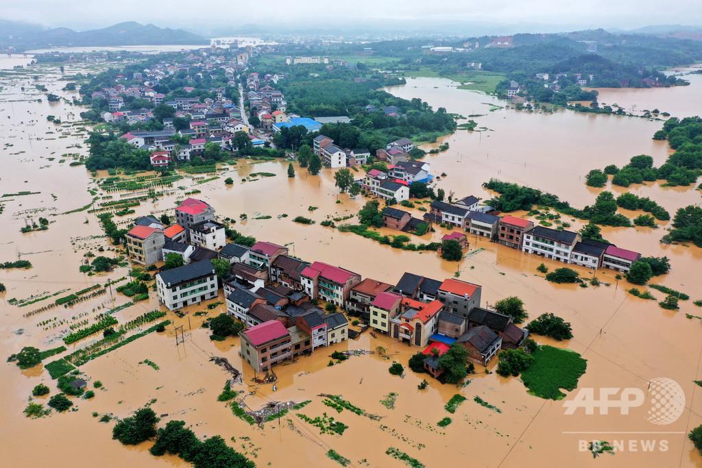 中国・湖南省で洪水、広い範囲で浸水被害