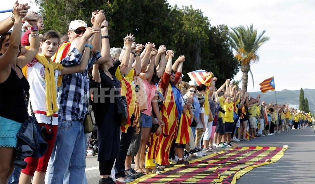 スペイン・カタルーニャ州で独立求める「人間の鎖」