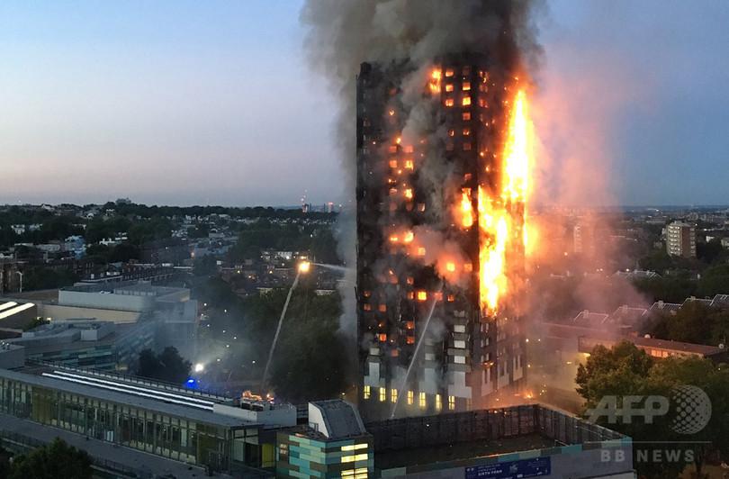 ロンドン高層住宅火災、火元は冷蔵庫 警察は過失致死容疑を示唆
