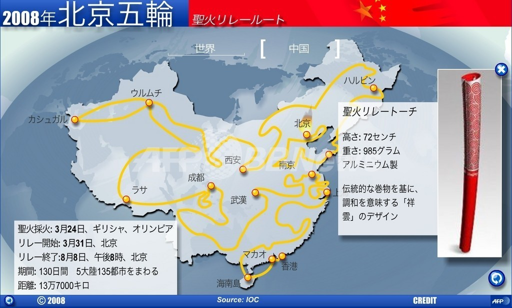 【アニメーション】2008年北京五輪聖火リレールート