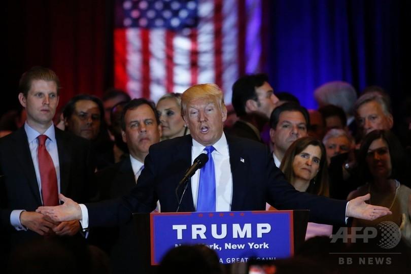 トランプ氏、インディアナ州で圧勝へ 民主は接戦 米予備選