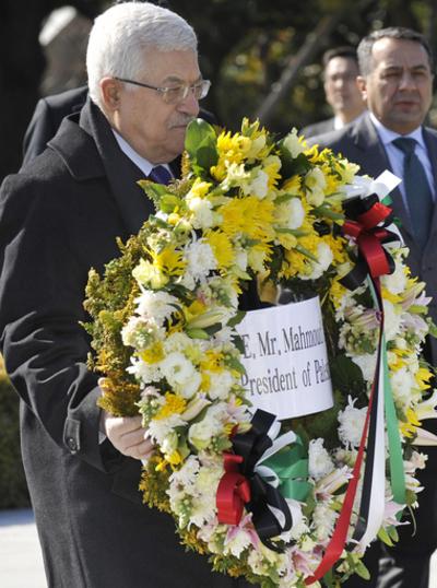 パレスチナ自治政府のアッバス議長来日、初日は広島訪問