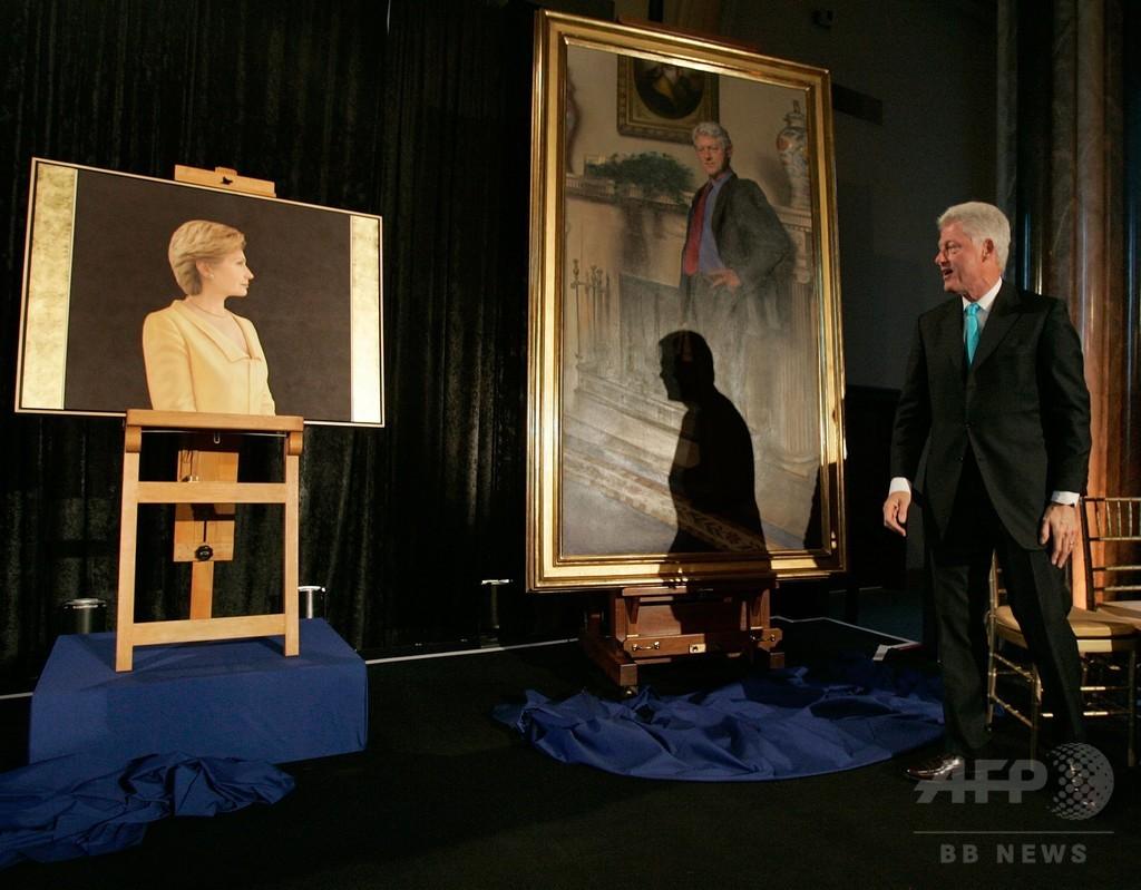 クリントン氏肖像に隠れた「ドレスの影」、不倫騒動を暗喩と作者
