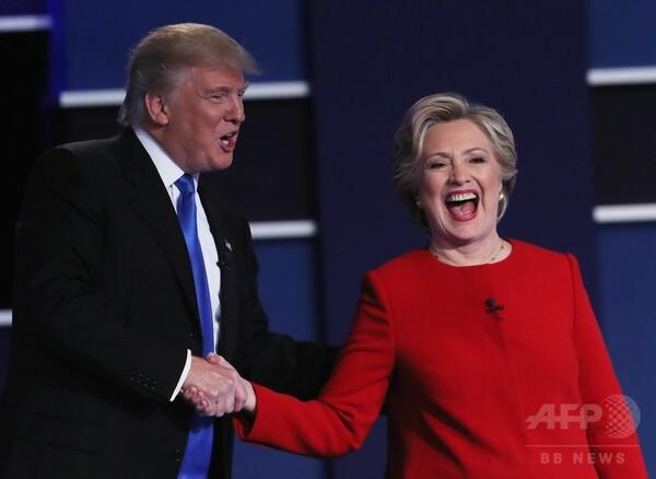 クリントン、トランプ両氏、初の直接対決で火花 米大統領選