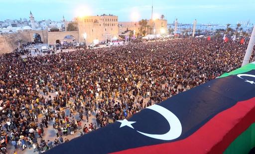 リビア首都、カダフィ独裁崩壊につながった大規模デモから7年を祝う