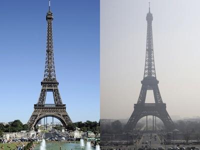 【写真特集】かすむ花の都、仏パリの大気汚染