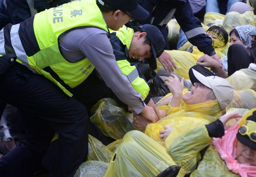台湾与党、大規模デモ受け原発建設中止を約束