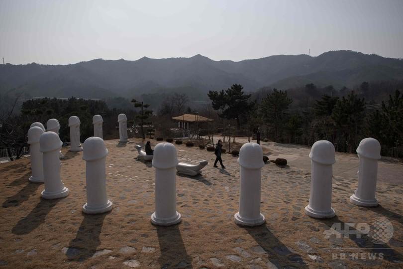 「大砲」は日本に照準 平昌五輪会場近くの「ペニス公園」