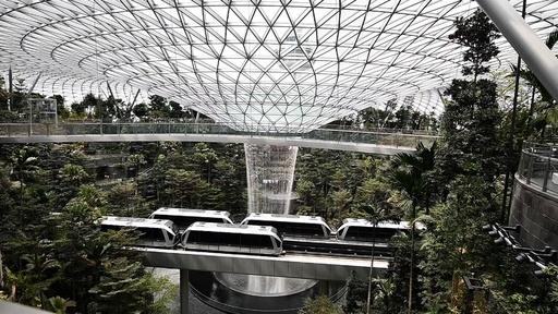 動画:空港がジャングルに!? 屋内施設に壮大な滝が登場 シンガポール