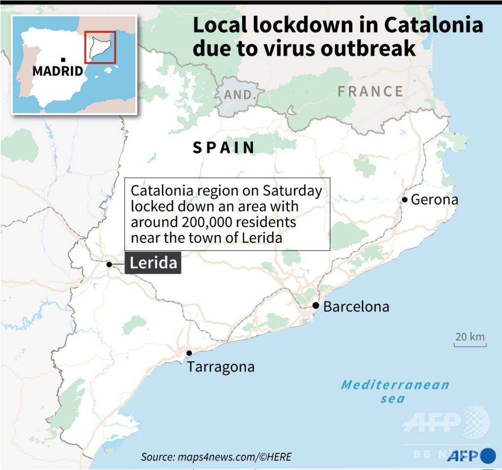スペイン・カタルーニャの地区封鎖、20万人対象 コロナ感染者急増受け