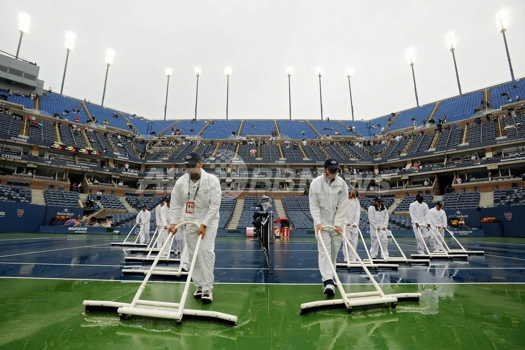 男子単決勝は雨天順延に、全米オープン