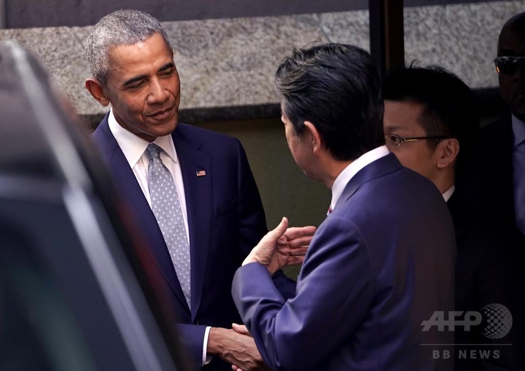 来日中のオバマ氏、「北朝鮮は現実の脅威」 都内イベントで