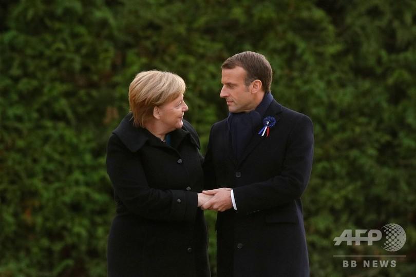 第1次大戦終結100年、仏独首脳が式典出席 結束強調