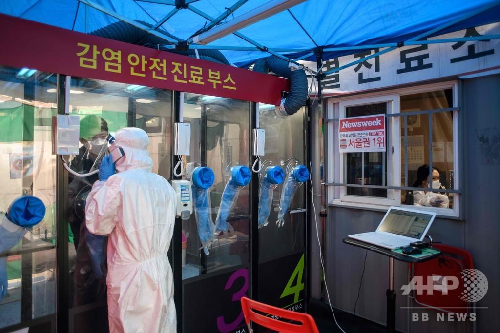 「消毒も楽々」電話ボックス風コロナ検査場、韓国が導入