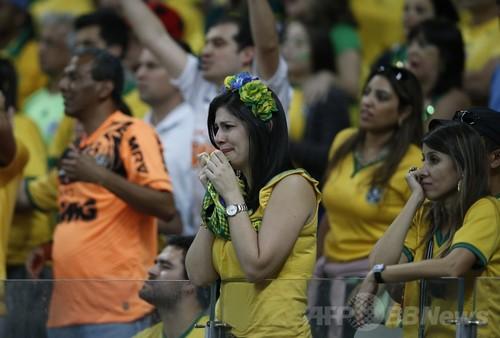 【写真】大敗に落胆するブラジル代表サポーター