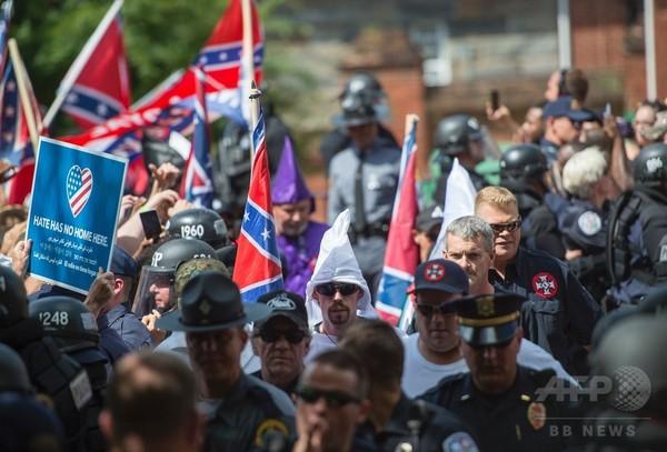 KKKがデモ行進、南北戦争将軍の像撤去計画に抗議 米