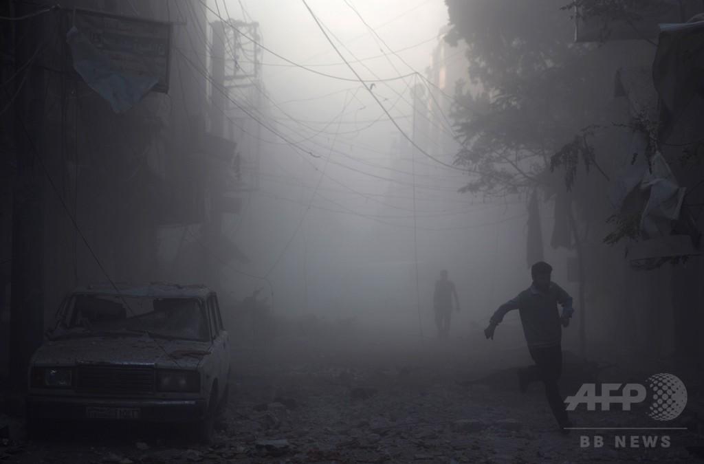 シリア首都近郊の空爆で民間人23人死亡、ロシア軍の攻撃か