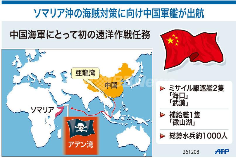 【図解】ソマリア沖の海賊対策に向け中国軍艦が出港