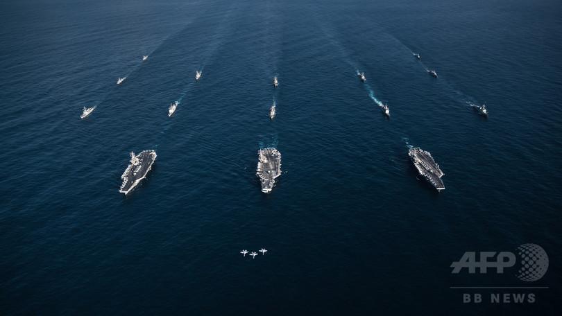 米空母3隻の演習参加は「史上最悪の状況」 北朝鮮が反発