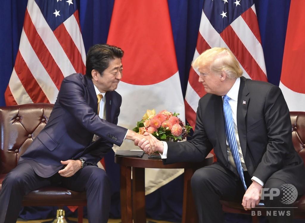 日米、貿易交渉開始で合意 トランプ大統領、安倍首相と会談