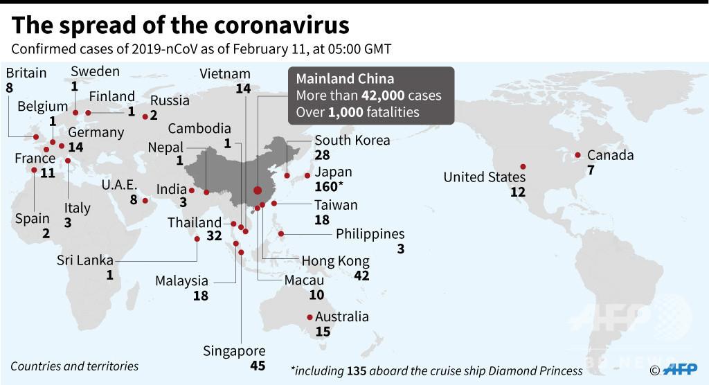 新型コロナウイルス、感染者が確認された国と地域(11日14時現在)