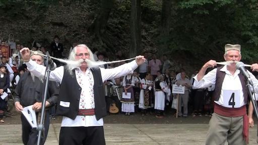 動画:びよーんと伸びるひげが自慢、セルビア「長ひげ選手権」