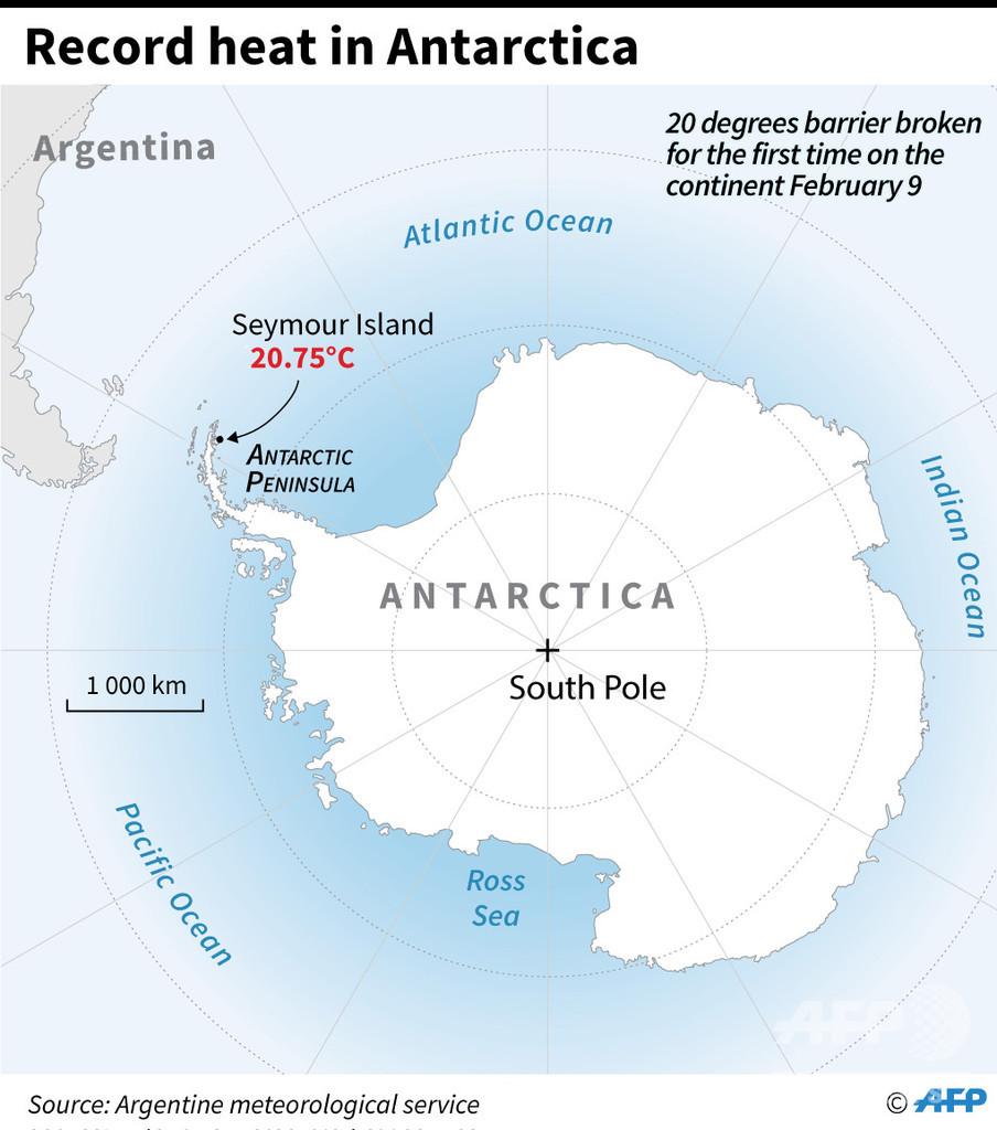 南極で初の20度超え 史上最高気温20.75度を観測
