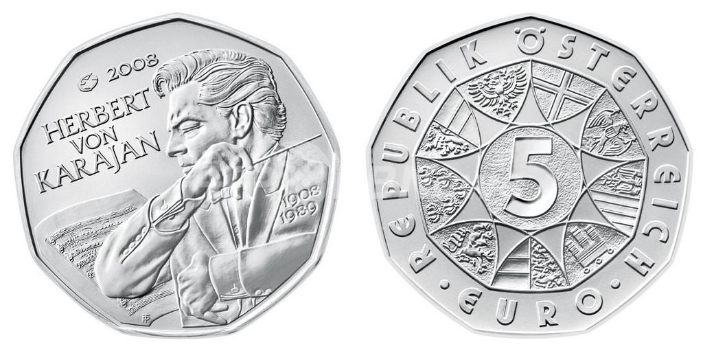 指揮者カラヤン描いた5ユーロ硬貨、オーストリアに登場